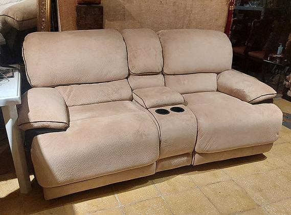 Double Recliner Sofa, Entertainment Center, Faux Suede