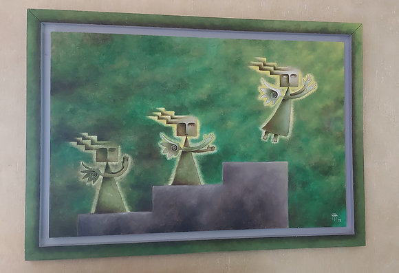 Original Oil on Canvas, Signed, Artist Unknown, Bustamante Inspired