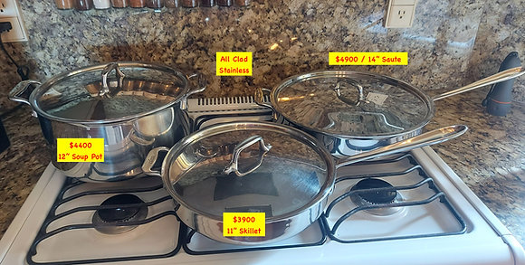 All Clad Stainless; 2 Sauté Skillets & Stockpot, Priced Separately