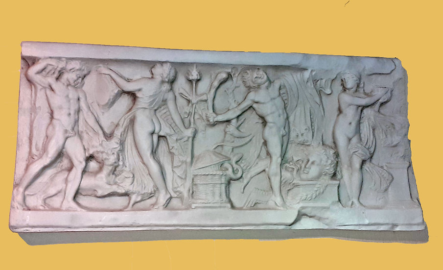 Molded Polymer Bas Relief of Greco Roman Scene