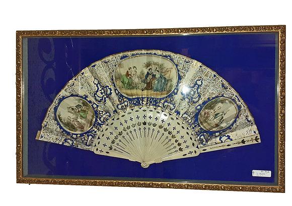 Framed Antique Fan, Carved Bone Ribs,  1890's