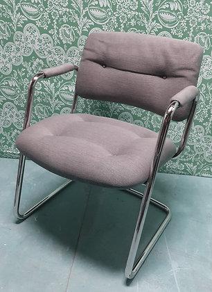 Steel Case Office Chair, Tubular Chrome, Cloth Upholstery