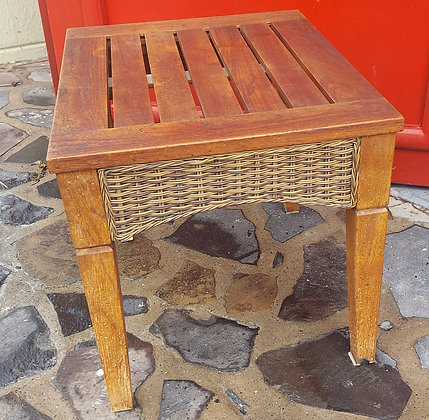 """Wicker / Teak Table, 22"""" x 27"""" and 22 1/2"""" tall"""