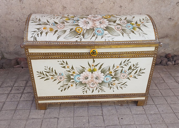 Vintage Tlaquepaque Hand Painted Furniture, Domed Trunk