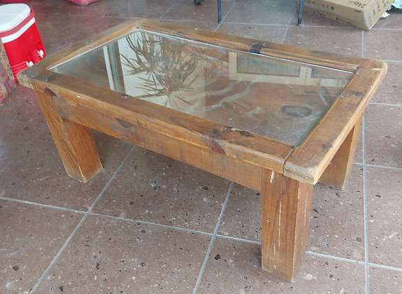 """Mexican, Rustic Coffee Table,  Carved Top w/Glass , 17"""" tall, 40"""" wide"""