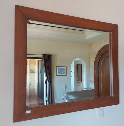 """Large Beveled Mirror in Natural Wood Frame, 39"""" x 47"""""""