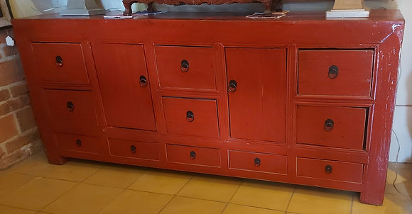 Vintage Red Lacquer Chinese Cabinet