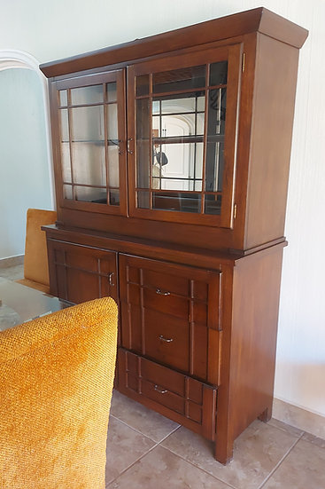 Contemporary China Cabinet, 2 pc. Glass Shelf w/Drawers
