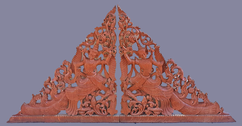 Hand Carved Thai Panel in 2 Sections