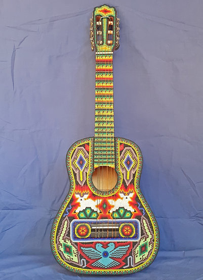 Huichol Beadwork Chid's Guitar, RARE and Beautiful, Work of Art!