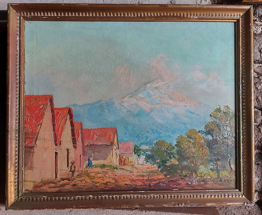 "Pico de Popocatépetl (#2), Mexican Artist ""MAYA"", 1940's-50's, Taxco, Gro"