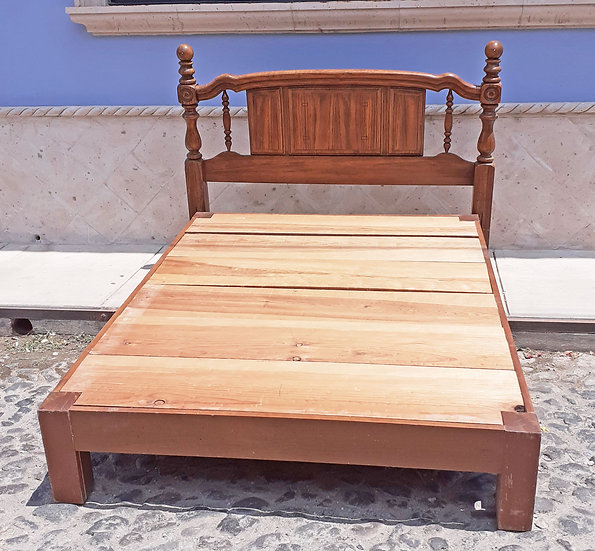 American Oak Queen Size Bed, Headboard and Wooden Base