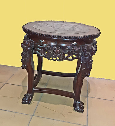 Antique Chinese Occasional Table, White Marble Top, Rosewood