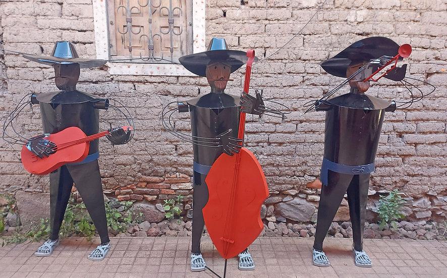 "3 Amigos Sheet Metal Figures, Tlaquepaque,  67"" tall"