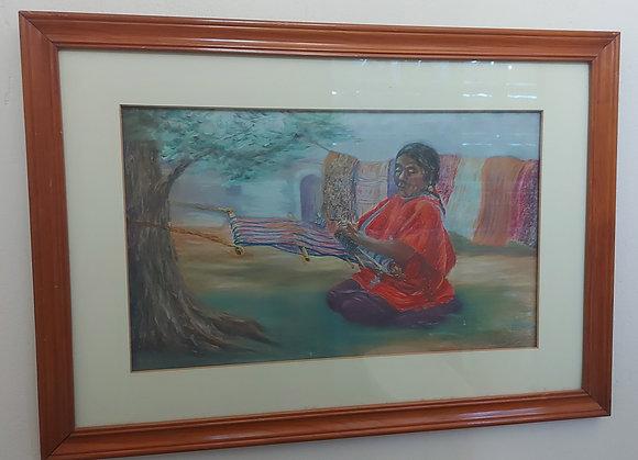 "Pastel Painting of Local Weaver ""Agustina"", Ajijic Lakeshore"