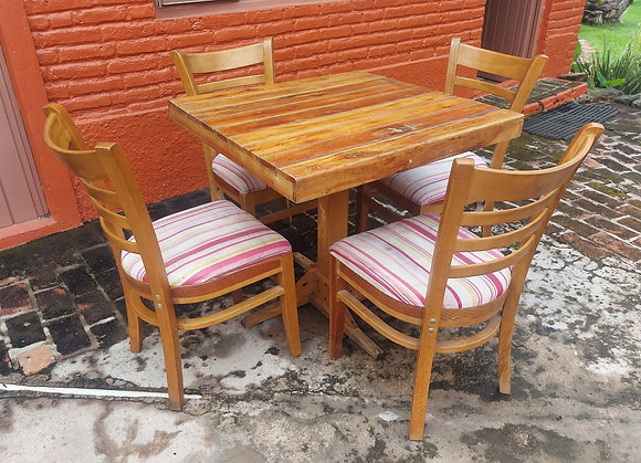 """Restaurant Table & 4 Chairs, Striped Fabric, 31"""" sq. Table"""