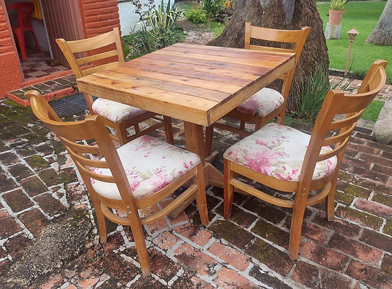 """Restaurant Table &  4 Chairs, Floral Fabric, 31"""" sq. Table"""