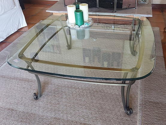 Coffee Table, Iron Frame with Thick Beveled Glass Top