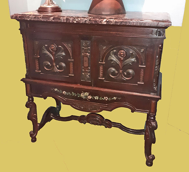 Antique Continental Sideboard, Breche Rouge Marble Top