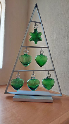 """Glass and Metal Pyramid w/Glass Hearts.. Light Catcher -17 1/2"""" tall"""