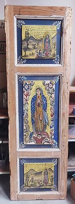 """Hand Painted Antique Door,  Virgin of Guadalupe, 73"""" tall, 23"""" wide"""
