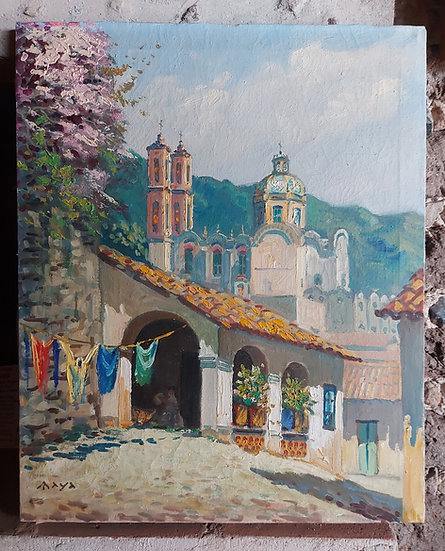 "Sta. Prisca (unframed), Mexican Artist ""MAYA"", 1940's-50's, Taxco, Gr"