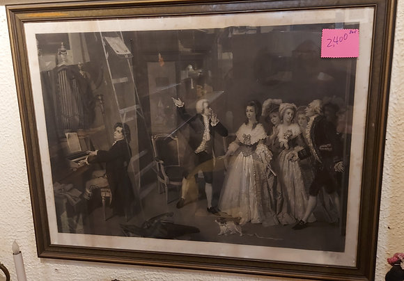 Antique  French Engraving: Beethoven Chez Mozart -CLEARANCE