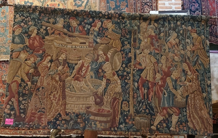 Flemish Style Woven Tapestry, w/ rod for hanging