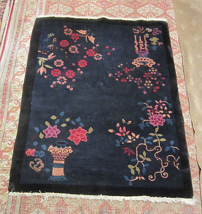 """Small Chinese Rug, Peking Blue, 1930's Art Deco, 46."""" by 38"""""""