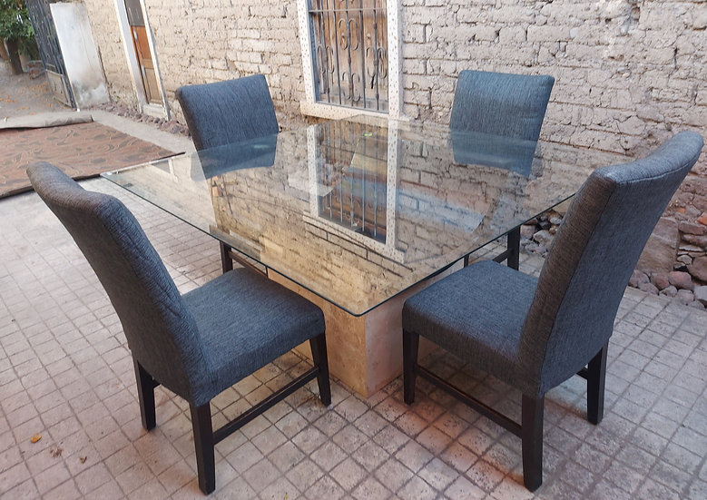 Dining-table-marble-base-square-glass-top