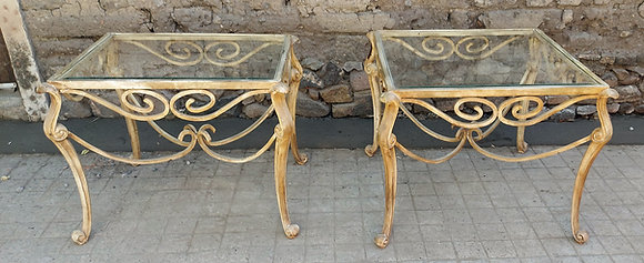 Wrought and Cast Iron Patio Tables, Glass Top, 2 Different Sizes