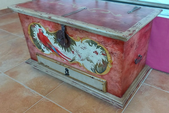 Hand Painted Mexican Trunk (Baul)., w/ drawer and lock.