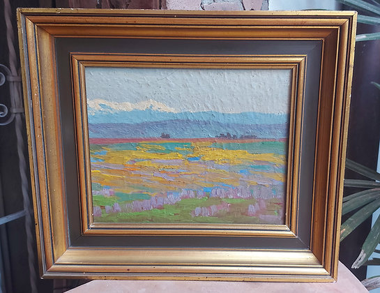 Plein Air School Oil Painting on Board, Signed on verso