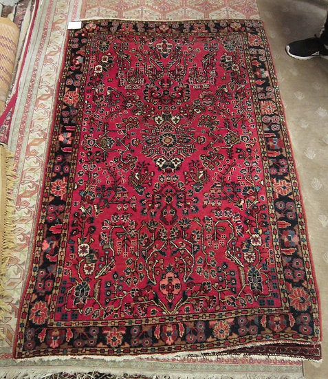 "Semi-Antique Sarouk Rug, 40.5"" x 59"", Fine Weave, Some Moth Damage"
