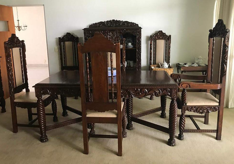 Mexican Carved Mahogany Dining Room Set