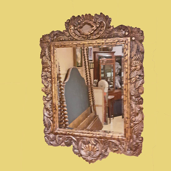 """Hand Carved and Decorated Mexican Mirror, 50 1/2"""" wide x 70"""" tall"""