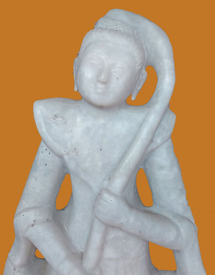 "White Stone Carving, Thailand, 59"" tall and 18"" wide"