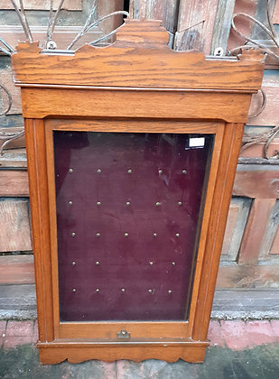 Oak 'Master Key' Cabinet, Eastlake Period, Counter Balanced Sliding Door