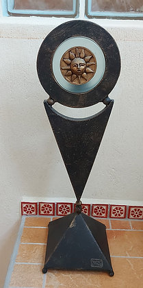 "Luna Tika Candle Stand, Decorative Mexican Arts, 22"" tall"