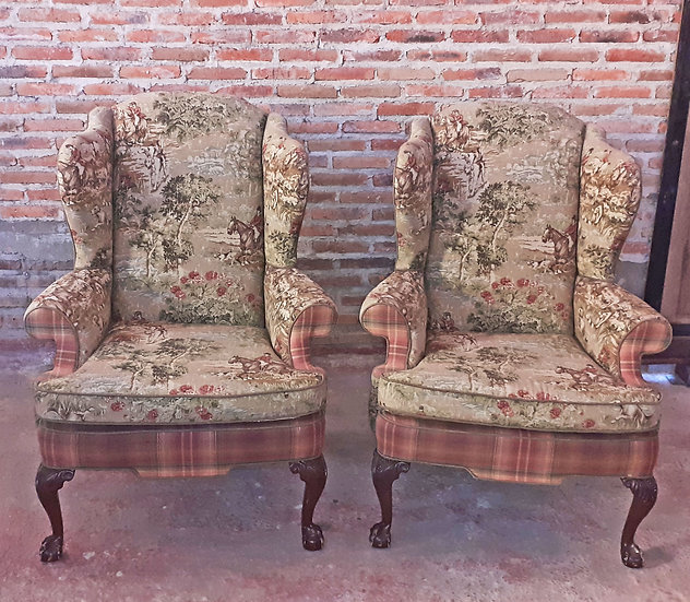 Pair of Fine Hunt Scene Wingback
