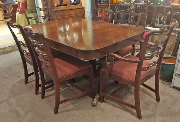 Mahogany Dining Room Table & Chairs, AS-IS Condition - 50% OFF