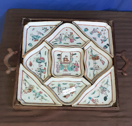 Antique Chinese Porcelain Sectional Tray Set