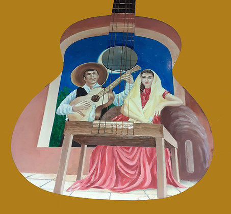 Hand Painted Mexican Guitar