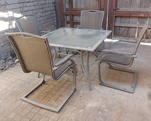 Patio Table and 4 Cantilever Chairs, Tempered Glass
