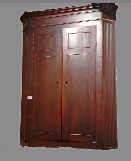 Early 19th C. English Corner Cupboard, Mahogany, upper section only,