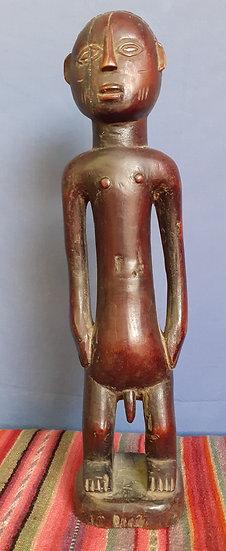 Tabwa nude male figure, wood, Congo