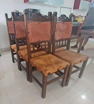 """6 - Mexican, Rustic Dining Room Chairs, leather, as is, 44"""" tall"""