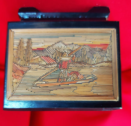 "Fine Mexican-Straw-Painting-Box-3""-x-4""-x-2-1/4""-Popote-Folk-Art"