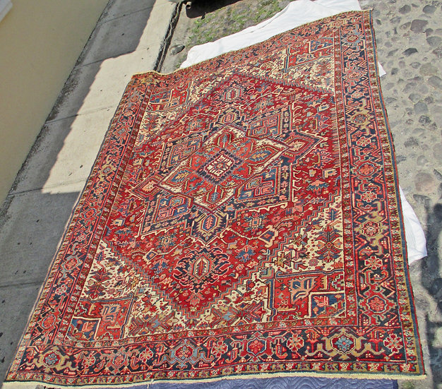 "Semi-Antique Heriz Rug, 8' x  10' 4"", Tight Weave,"