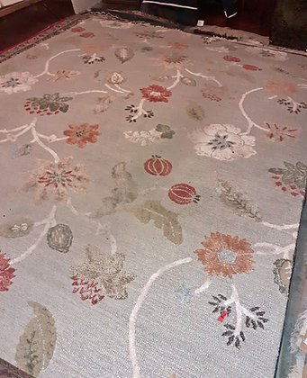 """Hooked Rug from India;  Leaves & Berries, 11' 9"""" x 8' 9"""""""